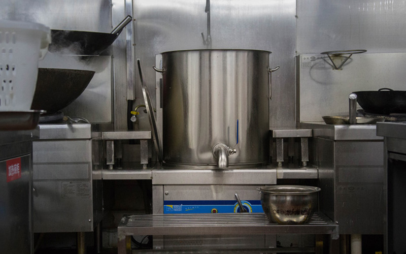 induction soup boiler in kitchen